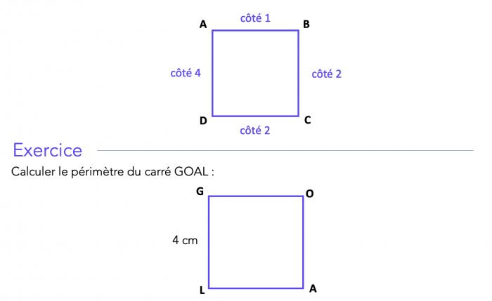 Calculer le périmètre d'un carré