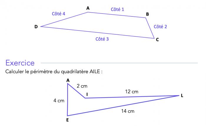 Calculer le périmètre d'un quadrilatère